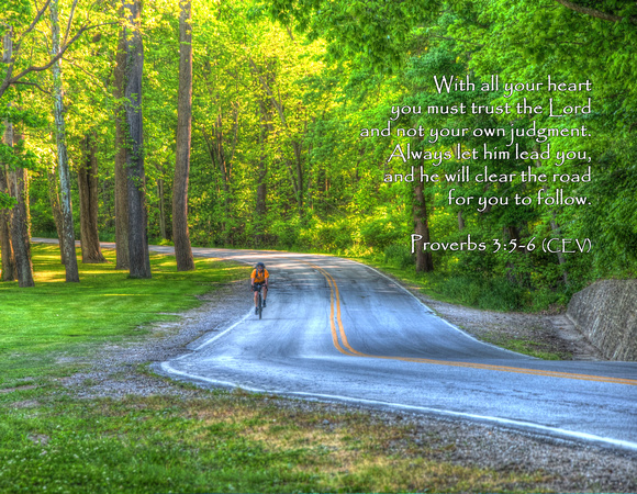 With all your heart you must trust the Lord and not your own judgment. Always let him lead you, and he will clear the road for you to follow. ~ Proverbs 3:5-6 (CEV) | Cuyahoga National Park